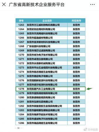 凯路汽车成为广东科技型中小企业